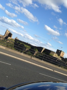 Enjoying the view of Tynemouth's old ruins, in the distance